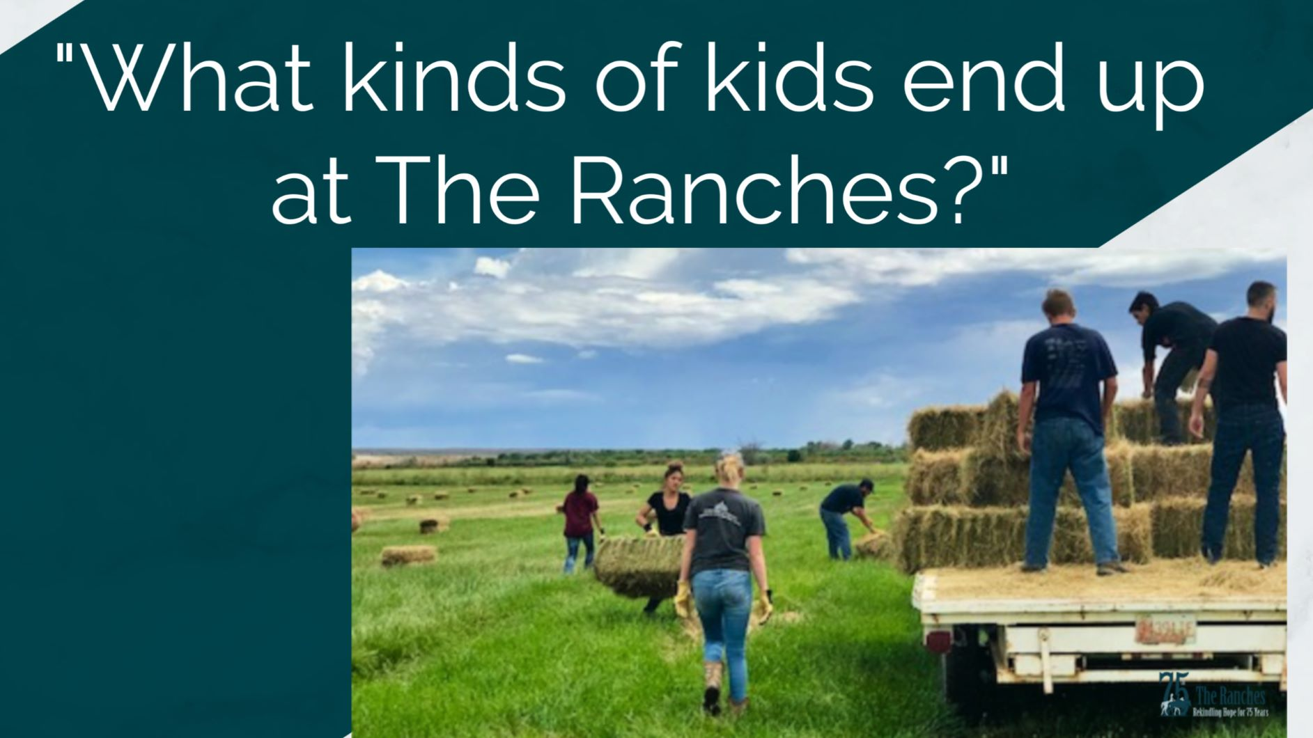 kids at the ranch hauling hay
